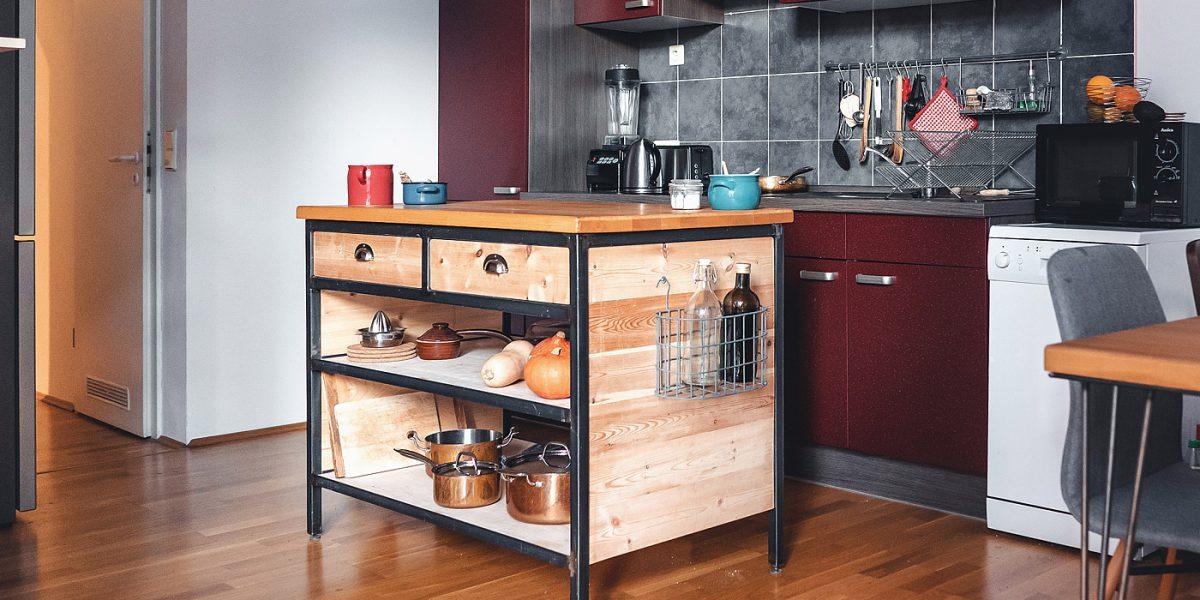 Kücheninsel Stahl Holz Industrial